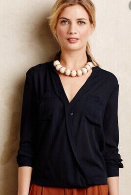 $ CDN20.40 • Buy MAEVE ANTHROPOLOGIE EVA Navy Blue Sheer Wrap V Neck BLOUSE TUNIC TOP SHIRT 12