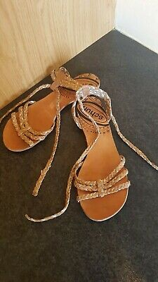 Womens Sandals SCHUH Real Leather Tan And Gold UK 6 • 18£