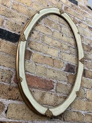 Gesso Detail Rococo / Baroque Oval Picture Frame, White & Gold Gilt, Medium • 48£