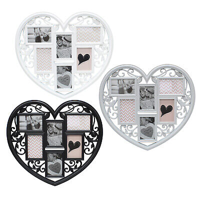 6 Photo Large Wedding Frame 3D Hanging Heart Shaped Multi Collage Picture Love • 12.99£