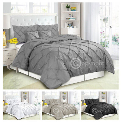 Pintuck Pleated Duvet Cover With Pillowcase Bedding Set Single Double King Size • 14.66£