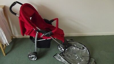 Pram Baby Kids Pushchair 3 In 1 Lovely Red 3 Wheeler Mint • 79.99£