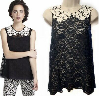 $ CDN29 • Buy Anthropologie Sheer Lace Peter Pan Collar Blouse S Black White Crochet Eloise