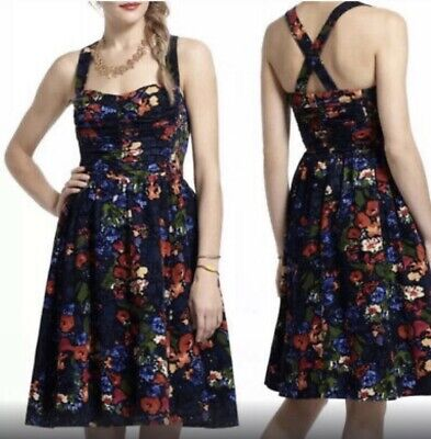 $ CDN39 • Buy Anthropologie Paca Halter Dress Corduroy Size 4 Floral Navy HD In Paris