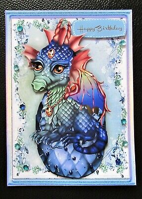 Handcrafted 3d  Birthday Card Topper Dragon Hatchling • 1.60£
