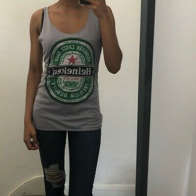 Heineken Grey Graphic Cotton Unisex Vest Top Small • 10£
