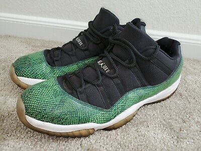 $129 • Buy Nike Air Jordan 11 Retro Low Black Nightshade Snakeskin 528895 033 Size 15 Green