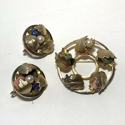 $18.95 • Buy VINTAGE Signed SARAH COVENTRY Jewelry Set Pearl Stone GOLD LEAF Pin CLIP Earring