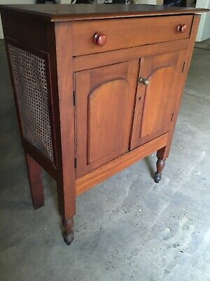 AU490 • Buy Antique Cedar Meat  Safe Cabinet Rattan Sides Table One Drawer Turned Legs