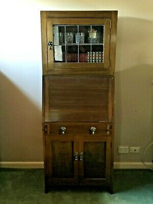 AU450 • Buy Antique Oak Leadlight Bookcase W Secretaire Desk!