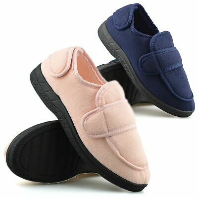 Ladies Womens Wide Fit Adjustable Memory Foam Warm Fleece Slippers Shoes Size • 11.98£