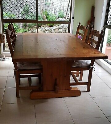 AU350 • Buy Beautiful Solid Pine Dining Table And 8 Chairs, Wooden Table, Cottage, Country