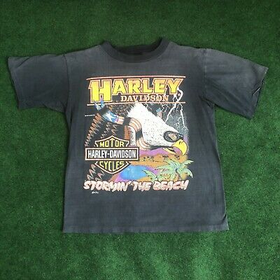 $ CDN133.34 • Buy Vintage Harley Davidson STORMIN THE BEACH Fun Wear Inc Single Stitch T Shirt M