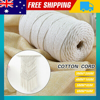AU13.86 • Buy 3/4/5/6mm Macrame Rope Natural Beige Cotton Twisted Cord Artisan Hand Craft NEW