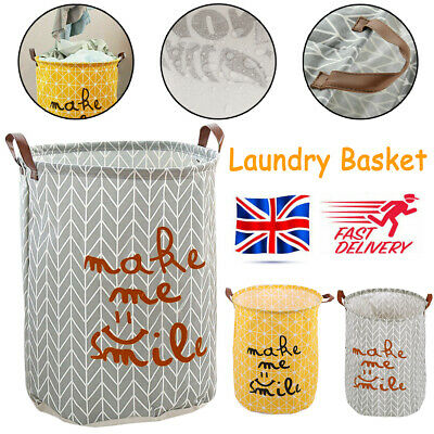 Foldable Washing Dirty Clothes Laundry Basket Canvas Baby Toy Hamper Bin Storage • 6.79£