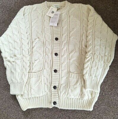 £42.99 • Buy Vintage Traditional 100% British Wool Aran  Cardigan Cream Chunky Cable Knit