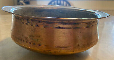 Beautiful Shaped Round Bottom Antique Chinese  Brass Bowl • 10£