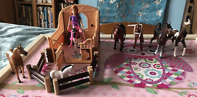 Playmobil HORSE, RIDER, STABLE, FENCE Set Pretend Play & Extra Horses 24 Pieces • 7£