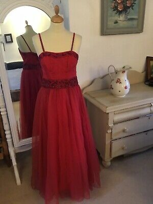£46 • Buy Beautiful True Vintage 1950's Red Tulle Gown 12-14