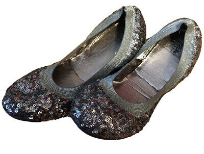"""$8.99 • Buy Mossimo Women Ballet """"Valerie"""" Flats Shoes Sequin Size 8 US Pewter Dark Silver"""