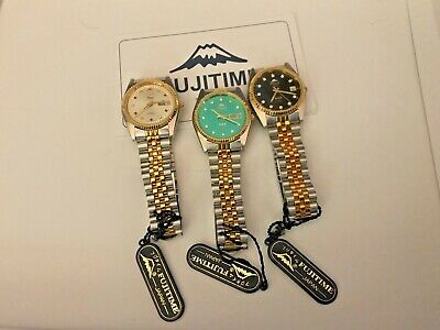 $ CDN148.87 • Buy Lot Of 3 Fuji Time 21j Day Date Automatic Two Tone Men's Watch Lot New