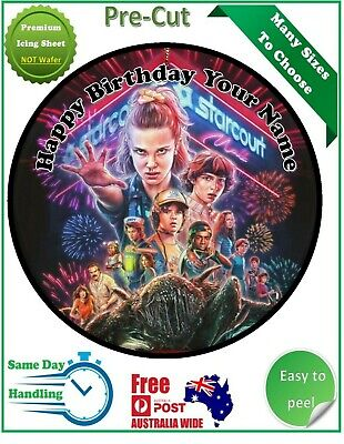 AU12.50 • Buy Stranger Things Icing Edible Birthday Party Cake Decoration Topper Round Image