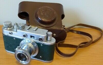 Zorki C (Zorki S?) Vintage Soviet Rangefinder 35mm Green Camera + Leather Case • 32£