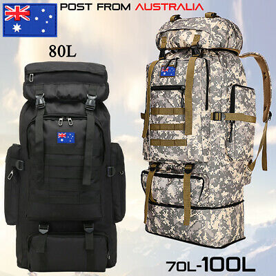 AU44.59 • Buy 70L/80L/100L Large Military Tactical Backpack Rucksack Camping Hiking Travel Bag