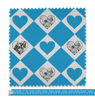 Alice In Wonderland Blue Hearts And Diamond Fabric 21 Variations Price Per Metre • 9.99£