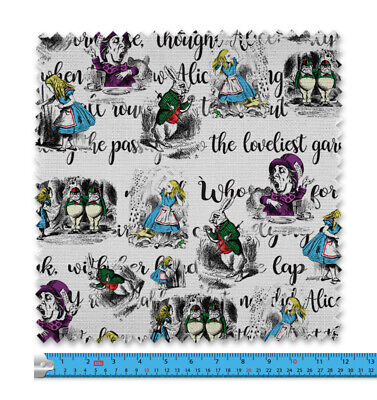 Coloured Alice In Wonderland Characters Fabric 21 Variations Price Per Metre 008 • 9.99£