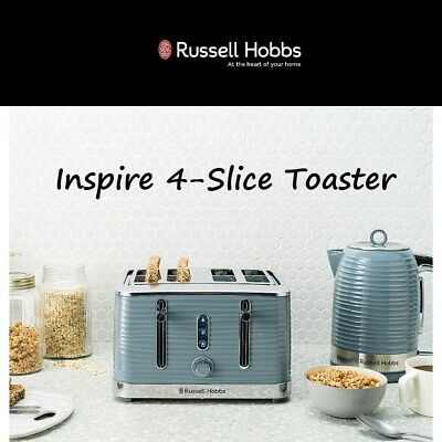 AU99.95 • Buy Russell Hobbs Large Slot 4 Slice Toaster High Lift Defrost Reheat Blue LED GREY