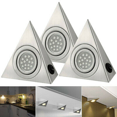 LED Triangle Light Kitchen Under Cabinet Cupboard Shelf Counter Downlight Lights • 7.59£
