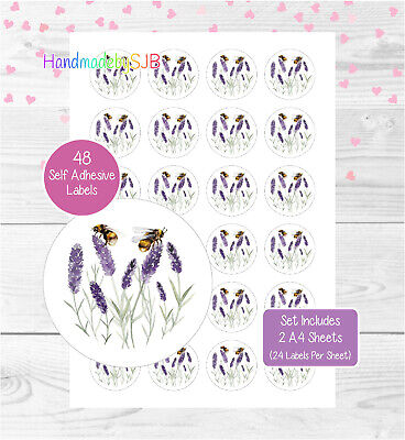 £3.30 • Buy Bumblebee/Lavender Stickers, 48 Round Labels For Envelope Seals/Favours/Gifts