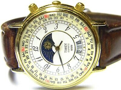 $ CDN101.49 • Buy Mens Timex Moonphase Calendar Day Date Gold Plated Vintage Watch Parts Repair