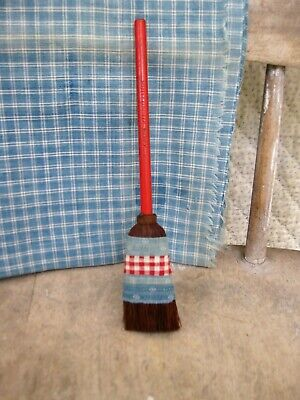 $ CDN101.50 • Buy Antique Pencil Broom Original Red Paint 1890s Blue & Red Calico