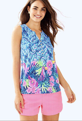 $29.99 • Buy Lilly Pulitzer Essie Top Tunic Shirt Medium Blue Pink Green Lets Mango Toucan