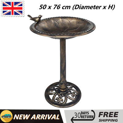 Garden Bird Bath Bronze Plastic Bird Feeder Bowl Water Ways Stands Courtyard • 34.19£