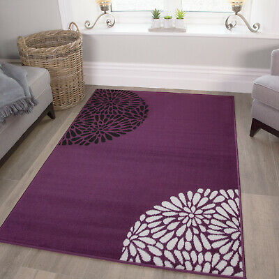 £49.95 • Buy Purple Floral Rugs Classic Cheap Living Room Rug Small Large Rugs Hallway Runner