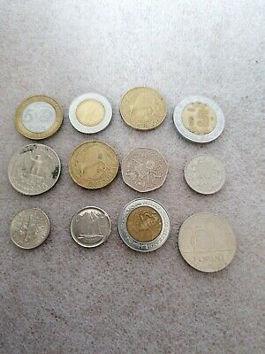 Selection Of Foreign Coins X 12 Dollar, Pesos, Cents, Forint, Dime • 2£