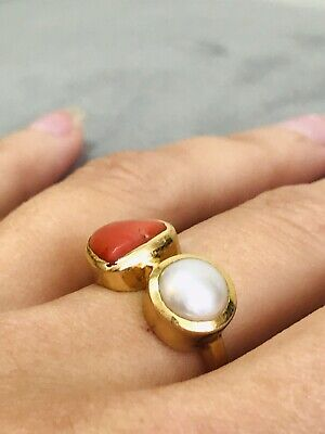 Vintage 18ct Gold Red Coral & Genuine Pearl Ring Custom Made Ring • 499.99£