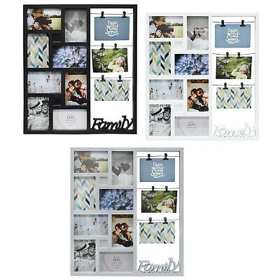 £11.99 • Buy 11 Photo Frame Collage Picture 3D Family Multi Wall Hanging Aperture Black White