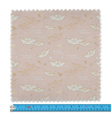 Childrens Paper Boats Pink Fabric 21 Variations Price Per Metre LSFABRIC088 • 9.99£