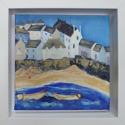 St Ives Harbour Beach : Original Framed Painting, Boats, Cottages, Cornwall • 50£