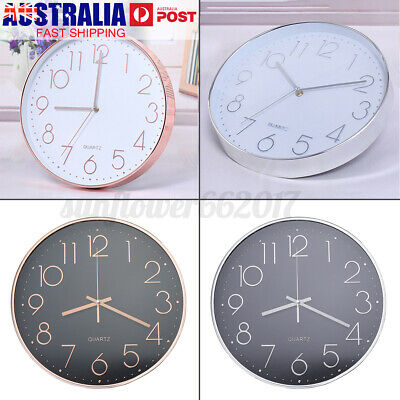 AU23.25 • Buy 12'' Wall Clock Quartz Round Wall Clock Silent Non Ticking Battery Operated NEW