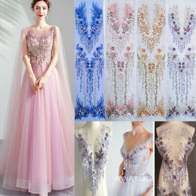 3D Long Lace Flower Embroidery Applique Pearl Tulle DIY Wedding Bridal Dress Uk • 9.78£