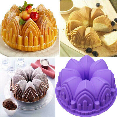 Silicone 3D Crown Castle Cake Baking Mold Nonstick Bakeware Pan Chocolate Mould • 4.99£