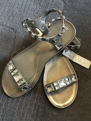 NEW - HOLSTER Silver Embellished Jelly Sandals - 39/ 6 • 6.50£
