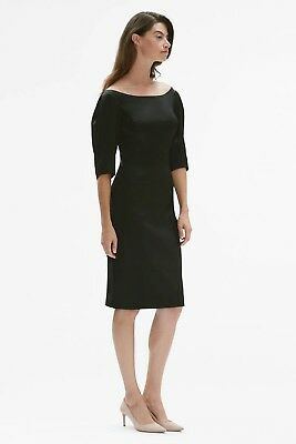 $ CDN53.57 • Buy $295 NWT MM LaFleur Genevieve Dress Size 0 Black Satin Stretch Open Neckline