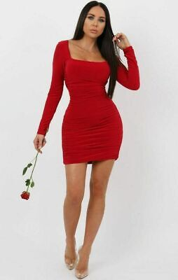 Womens Ladies Red Slinky Square Neck Ruched Bodycon Mini Club Wear Party Dress • 6.99£