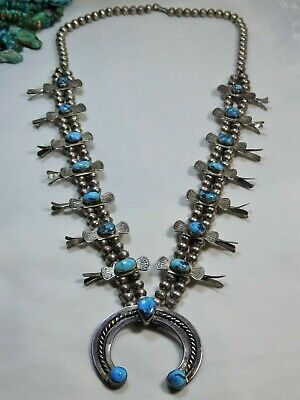 $ CDN1518.19 • Buy 1940+ NAVAJO Natural CANDELARIA TURQUOISE STERLING Silver 26  Squash Blossom 😍